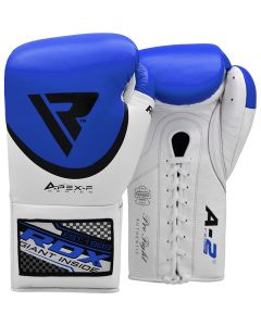 RDX A2 8oz Blue Leather Professional Boxing Gloves