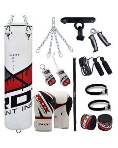 RDX F7 Red 4ft Filled 13pc Punch Bag with 12oz Boxing Gloves