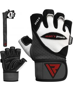 RDX L1 Small White Leather Gym Gloves