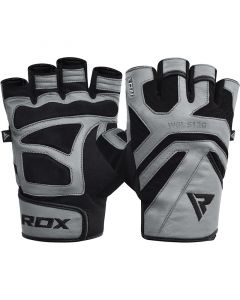 RDX S12 Small Grey Leather Gym Gloves