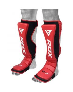 RDX T7 Medium Red Leather X Shin Instep Guards